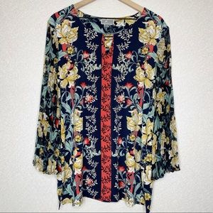 JM Collection | Floral Embellished Tunic Size XL